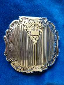 Antique powder tin, dated about 1880-1900. Solid silver with original mirror.