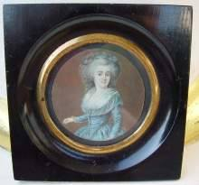 Kostbare, antike Miniatur um 1780. Antique miniature painting made about 1780.