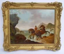 John Harwood, Reiter mit zwei Pferden in stürmischer Brandung. Beautiful antique oil painting, signed JHarwood and dated 1828. Rider with two horses on the coast.