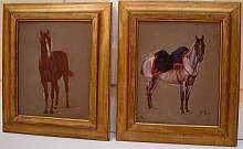 Emmanuel Grammont (Frankreich, geb. 1862) A PAIR of antique oil paintings, horses