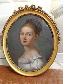 Antique painting, portrait of beautiful young lady, dated about 1810.