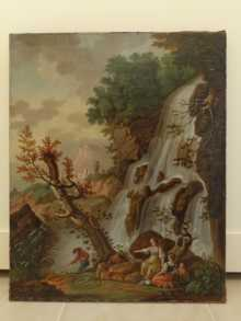 Antique oil painting, a fine landscape with waterfall & travellers, dated about 1780.