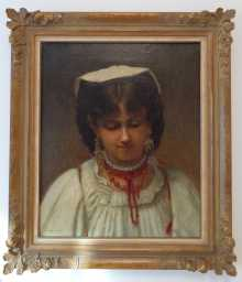 Antique oil painting, portrait of a young Italian woman with pearls & earrings, 19th century.