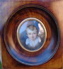 Antique miniature, portrait of a child with blue eyes, 19th century.